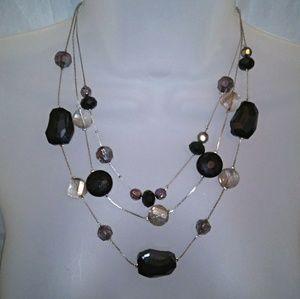 Jewelry - Triple Strand Layered Black & Iridescent Necklace